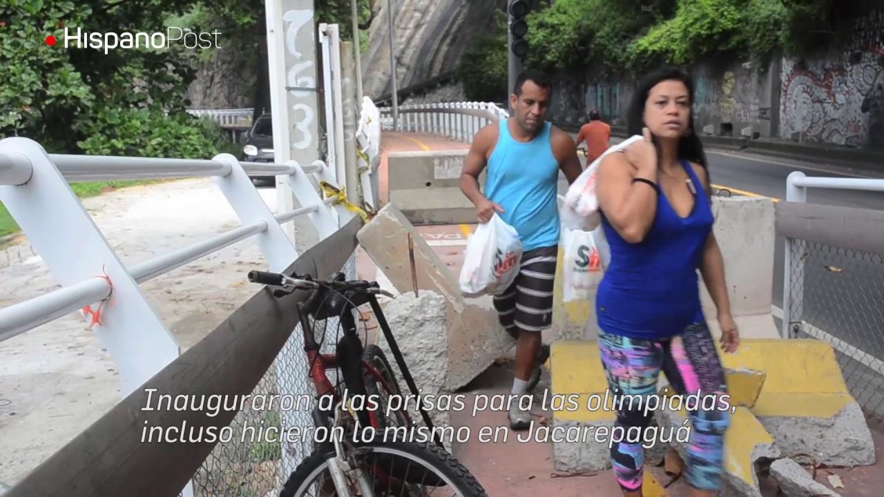 Pasan los días y la ciclovía de Río de Janeiro sigue fracturada
