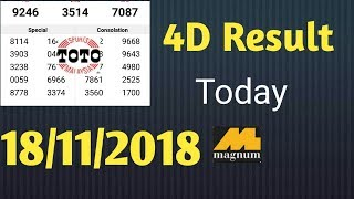 Today Result 4d 18/11/2018.Magnum toto kuda Result,
