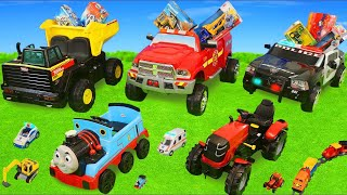 Fire Truck, Tractor, Police Cars, Train & Dump Trucks Ride On Surprise Toy Vehicles for Kids