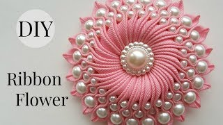 DIY Ribbon flower with beads/ grosgrain flowers with beads tutorial
