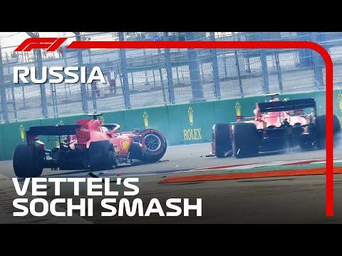 絶不調のセバスチャン・ベッテルが予選でクラッシュ。ルクレールは間一髪で回避。F1ロシアGPで起きたクラッシュ映像