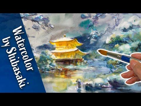 [Eng sub] Kinkaku-ji Temple in Kyoto / Watercolor painting landscape / Calming art