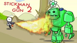 Поджарил БОССА с ОГНЕМЕТА! Битва с МОНСТРАМИ в мультяшной игре для детей Stickman And Gun 2
