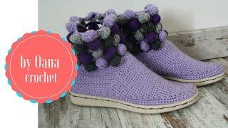 Crochet Shoes/slippers On A Rubber Sole 1- By Oana