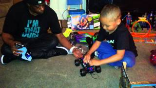 My son's first unboxing rc video of his Latrax Teton