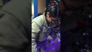 Arianne meet the dogs, home for Christmas 2017