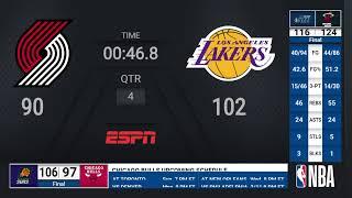 Trail Blazers @ Lakers | NBA on ESPN Live Scoreboard