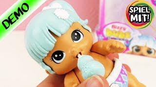 Bizzy Bubs elektronische MINI BABY PUPPE Snowbeam - Puppen Mädchen mit Flasche füttern |Little Live