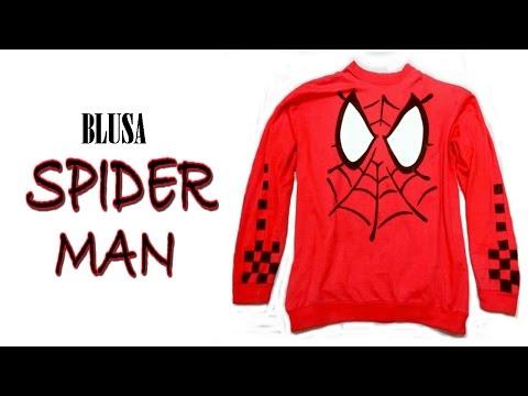 Como fazer uma Blusa do Homem Aranha em casa !