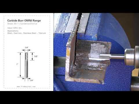 Carbide Burr SB-1 Cylinderical End Cut OMNI Range Head D 1/4 x 5/8L, 1/4 Shank, 2 Inch Full Length