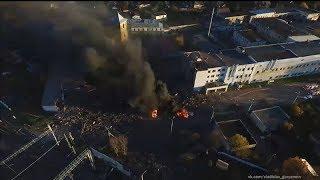 Последствия взрыва на заводе в Гатчине - видео  с воздуха
