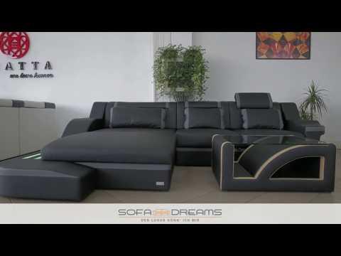 Sofa Dreams - Ledersofa Palermo als Ecksofa mit Couchtisch und Beleuchtung