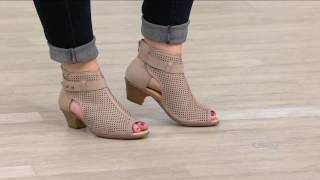 Earth Suede Perforated Peep-toe Booties - Intrepid on QVC