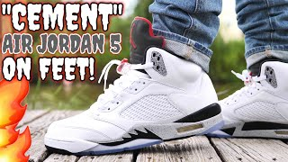"""CEMENT"" AIR JORDAN 5 ON FEET! IS THIS THE BEST JORDAN 5 RELEASE THIS YEAR?"