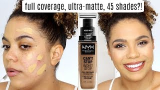 NYX Can't Stop Won't Stop Foundation Review/Wear Test OILY SKIN | Kholo.pk
