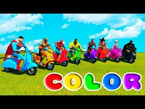 LEARN COLORS AND NUMBERS Scooter And BMX w/ Superheroes cartoon for Kids