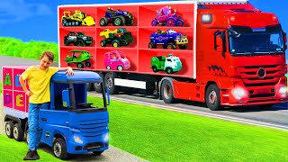 The Kids Pretend Play with a Real Truck and Toy Vehicles