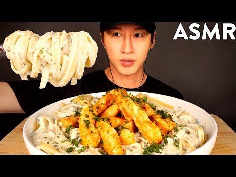 ASMR SPICY CHICKEN FETTUCCINE ALFREDO MUKBANG (No Talking) COOKING & EATING SOUNDS   Zach Choi ASMR