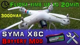 |MOD| Syma X8C #4 - Battery Mod Longer Flight Time Up To 20 Minutes! 3000mAh (4 of 5) Step By Step