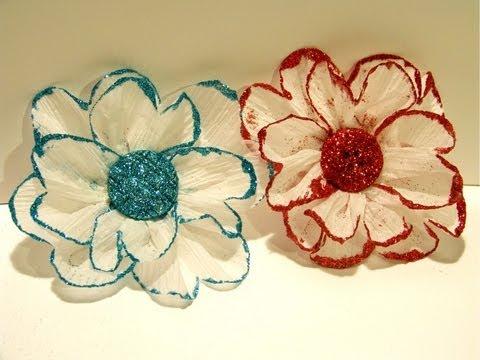 Flower friday glittered crepe paper flower mightylinksfo