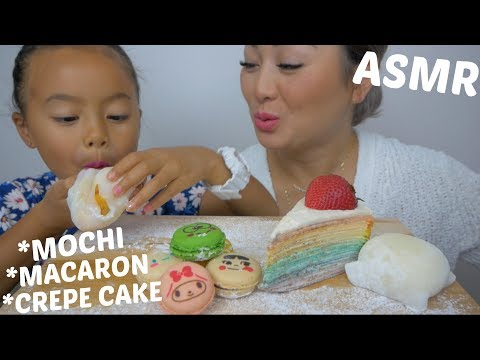 ASMR *Mochi, Macaron & Crepe Cake | Relaxing Eating Sounds | N.E Let's Eat