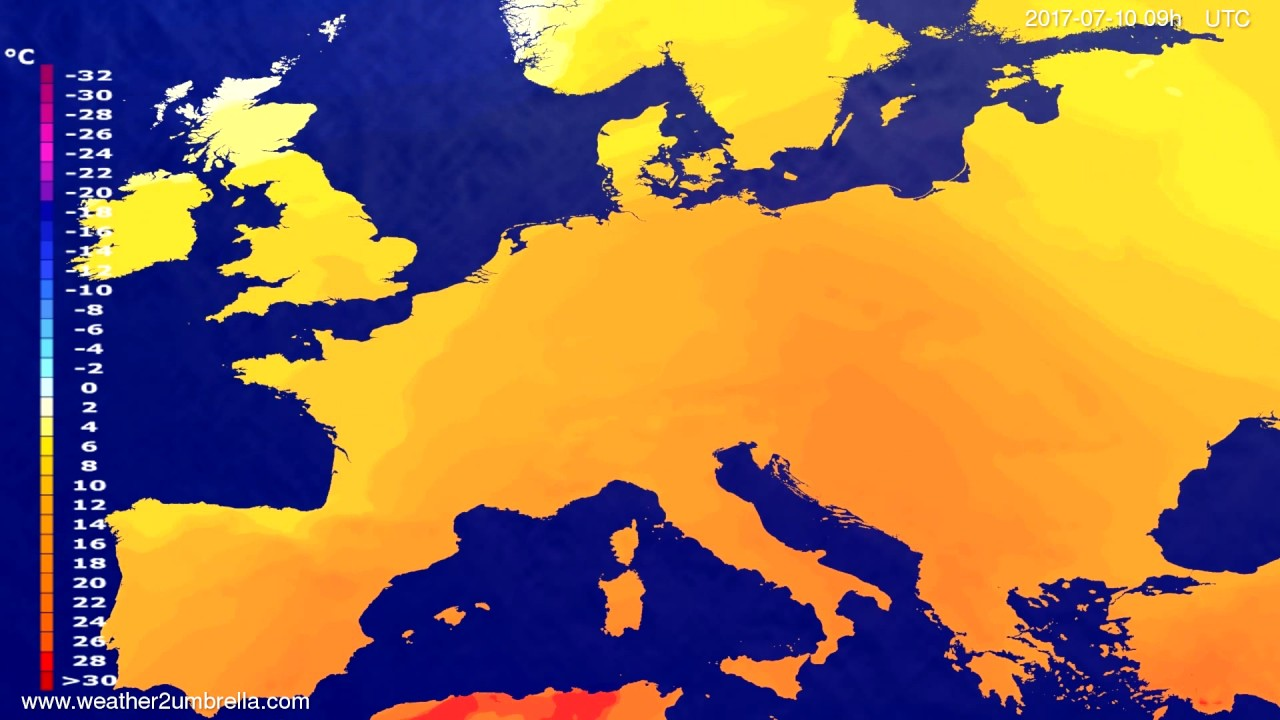 Temperature forecast Europe 2017-07-06