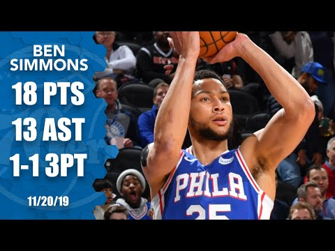 Ben Simmons makes 1st career 3-pointer, notches double-double vs. Knicks | 2019-20 NBA Highlights
