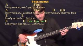 Pretty Woman (Roy Orbison) Bass Guitar Cover Lesson With ChordsLyrics