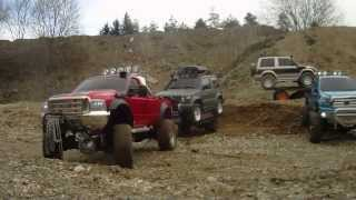 preview picture of video 'Tamiya Ford F350 Toyota Tundra CC01 Pajero SCALE trailer RC adventure'