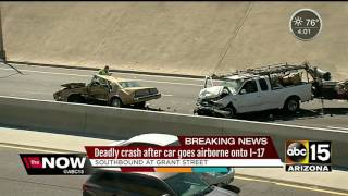 Deadly crash on I-17 as car goes airborne off of frontage road