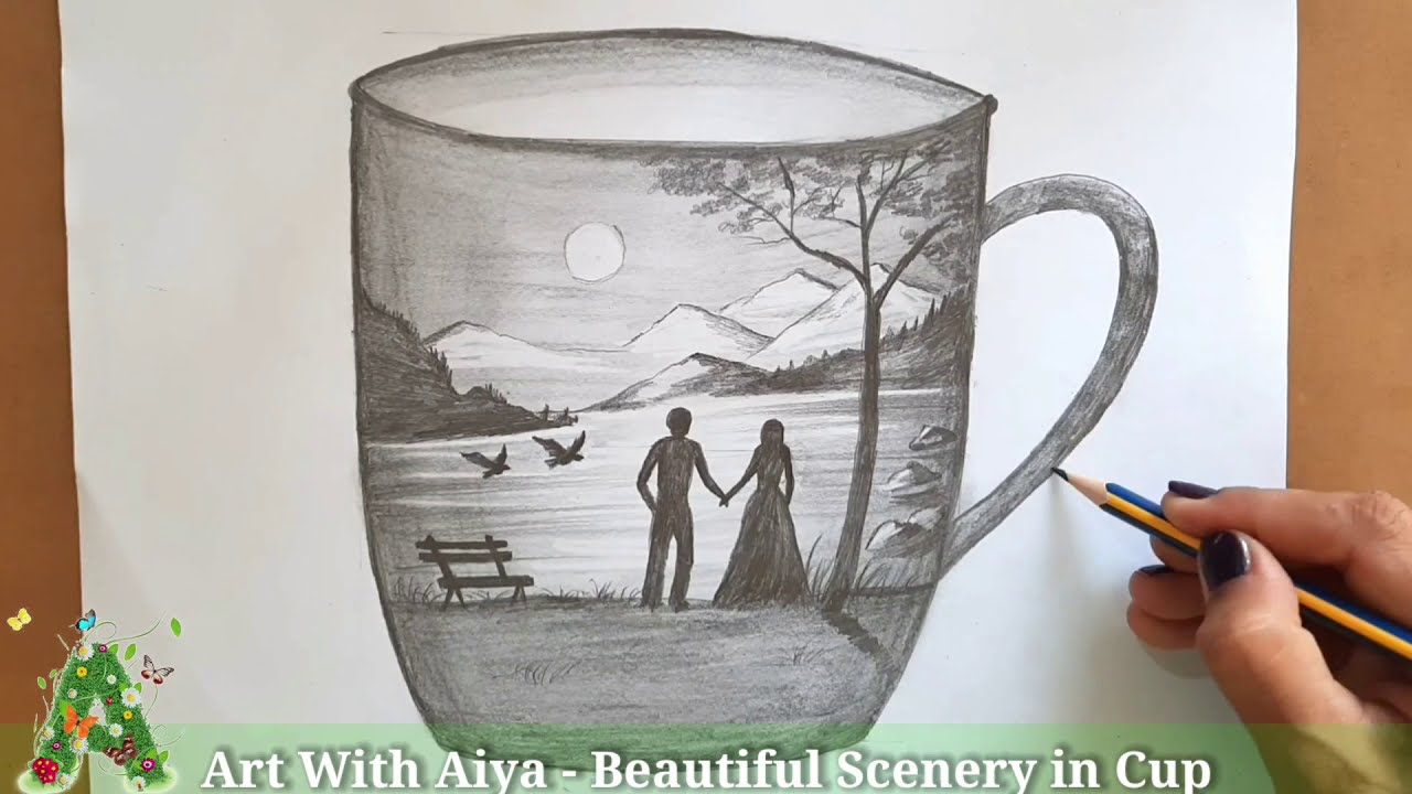 drawing scenary in a cup by aiya