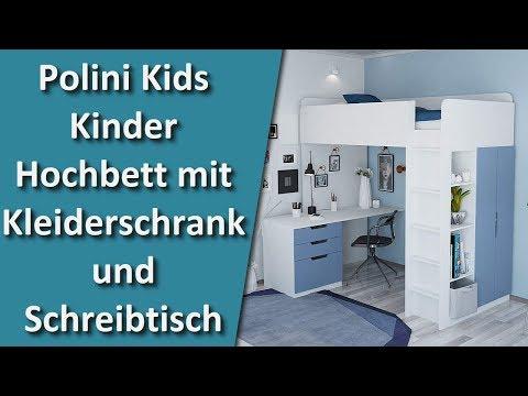 Polini Kids Kinder Hochbett mit Kleiderschrank und Schreibtisch Alles in Einem Möbel Set für Kinder