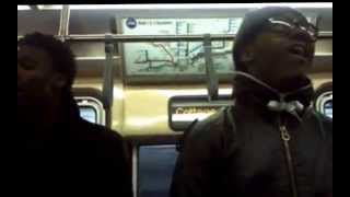"""Jerome with 1Voyce singing Brian McKnight's """"When Will I See You Again"""" on the train"""