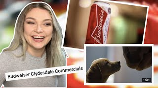New Zealand Girl Reacts to BUDWEISER CLYDESDAYLE SUPER BOWL COMMERCIALS!!