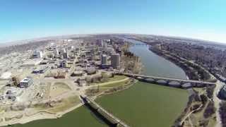 Drone Ariel of downtown Saskatoon Saskatchewan