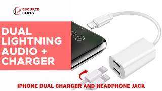 Dual Lightning Audio + Charger Adapter Splitter Cable For Apple iPhone