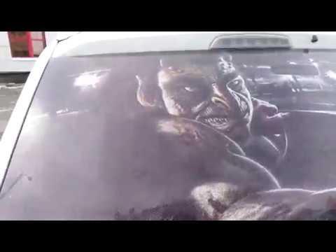 3D наклейка на заднее стекло автомобиля!