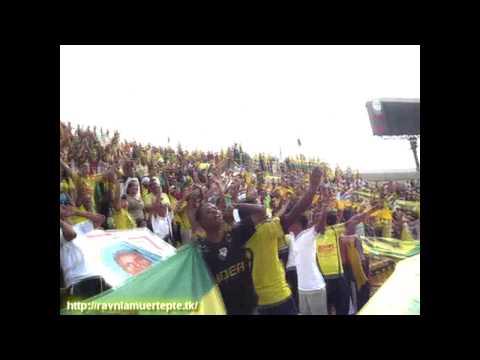 """""""REBELION AURIVERDE NORTE LOCOS DE LA CABEZA"""" Barra: Rebelión Auriverde Norte • Club: Real Cartagena"""