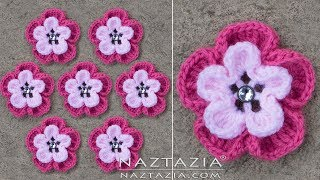 DIY Tutorial - How To Make A Crochet Flower - Wild Pink Flower Flowers Flor Flores