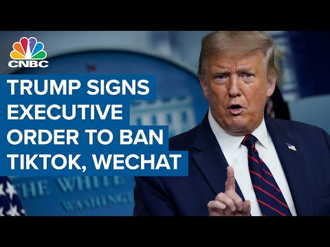 President Donald Trump signs executive orders to ban TikTok and WeChat from U.S. in 45 days