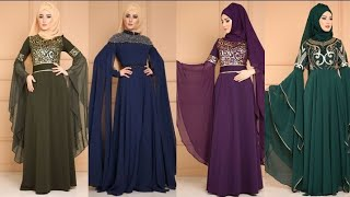 Most Beautiful And Outstanding Unique Style Hijab Evening Gown With Long Stylish Sleeves Design