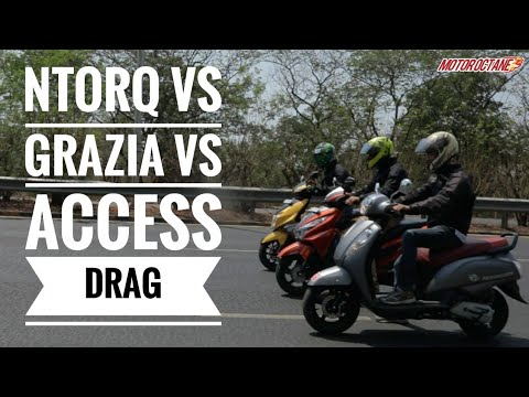 Motoroctane Youtube Video - DRAG RACE: TVS NTorq vs Suzuki Access vs Honda Grazia | MotorOctane
