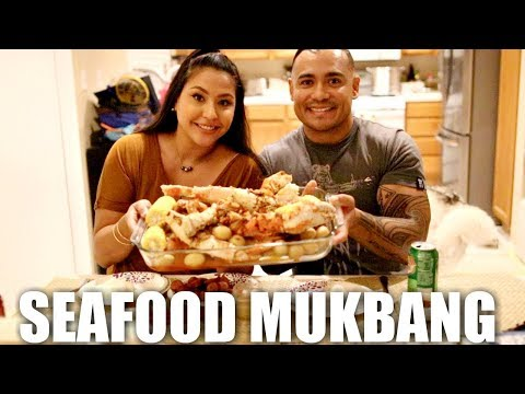 SEAFOOD BOIL MUKBANG + RECIPE! KING CRAB & SHRIMP!