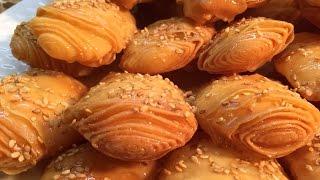 رغيفة العيد بالنشا  مقرمشة /حلويات العيد2016                                    rghaif au miel