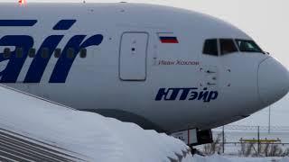 UTair winter departure UHMA ЮТейр зимний взлёт аэропорт Угольный