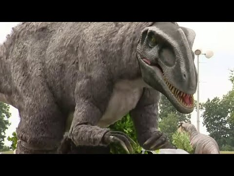 Jurassic Quest's drive-thru dinosaur park is open to visitors at DTE Energy Music Theatre