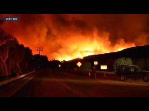 Explosive wildfire barrels through Southern California