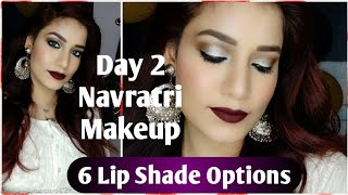 White 😍 Makeup With 6 Affordable Lip Shade Options 😍 White Dress Makeup😍 #NavrangiNavratri Day 2