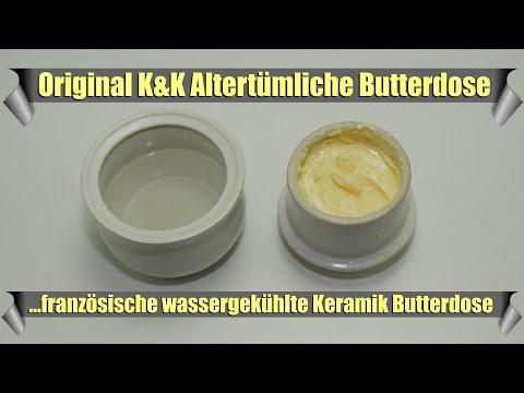 Steinzeug Keramik Butterdose mit Wasserkühlung aus Frankreich