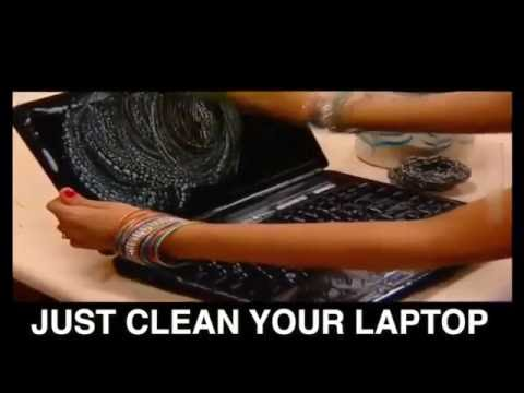 Funny Indian way to clean a laptop